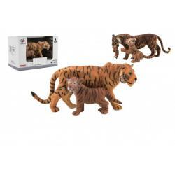 Zvířátka safari ZOO 13cm sada plast 2ks tygr 2 druhy v krabičce 16x11x9,5cm