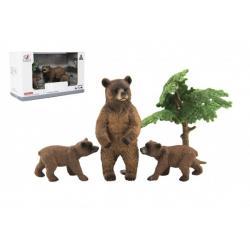 Zvířátka safari ZOO 10cm sada plast 4ks medvěd 2 druhy v krabičce 22x13x9,5cm