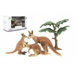 Zvířátka safari ZOO 10cm sada plast 4ks klokan 2 druhy v krabičce 22x13x9,5cm