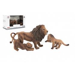Zvířátka safari ZOO 13cm sada plast 3ks lev 2 druhy v krabičce 22x13x9,5cm