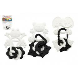 Kousátka zvířátka + přívěsky plast černobílé 9cm 4 druhy v sáčku 0m+