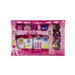 Domeček s doplňky a figurkami plast na baterie se světlem a zvukem krabici 33x22x4cm