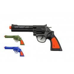 Pistole kolt plast 22cm na baterie se zvukem 3 barvy 12 ks v boxu