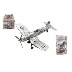 Letadlo model skládací bez lepidla  4D plast mix druhů v krabici 13x22x4,5cm 6ks v boxu