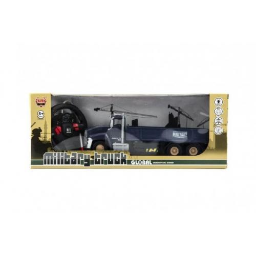 Auto RC vojenské nákladní plast 26cm na baterie se světlem v krabici 40x15x11cm