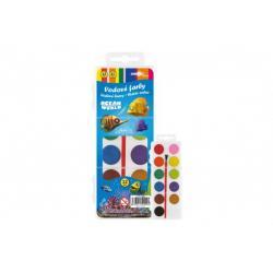 Vodové barvy se štětcem Ocean World 12barev/21mm v plastové krabičce 7x18x1cm v sáčku