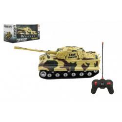 Tank RC PANTHER plast 25cm na baterie se zvukem se světlem 2 druhy v krabici 28x13x12cm