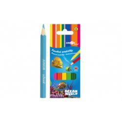 Pastelky barevné dřevo krátké Ocean World šestihranné 6 ks v krabičce 4,5x11x1cm 24ks v krabici
