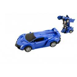 Transformer auto/robot plast 14cm na setrvačník 4 barvy 8ks v boxu