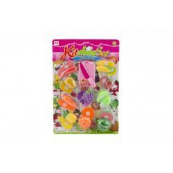 Ovoce a zelenina krájecí plast s prkénkem a nožem 10ks na kartě