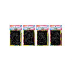 Škrabací mini obrázek duhový jednorožec 8,5x12cm 4 druhy v sáčku 36ks v boxu