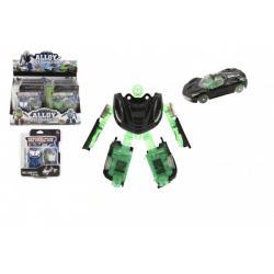 Transformer auto/robot plast/kov 8cm 4 barvy na kartě 8ks v boxu