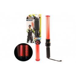 Policista/Regulovčík Tyč svítící pro řízení dopravy plast 41cm na baterie na kartě
