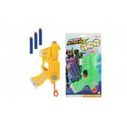 Pistole s pěnovými náboji 3ks plast 20cm 2 barvy na kartě
