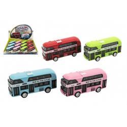 Autobus patrový kov/plast na zpětné natažení 9,5cm 4 barvy 12ks v boxu