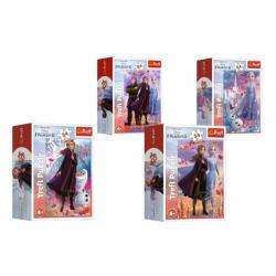 Minipuzzle 54 dílků Ledové království II/Frozen II 4 druhy v krabičce 6,5x9x3,5cm 40ks v boxu