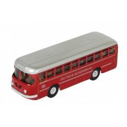 Autobus Deutsche Bundesbahn kov 19cm červený v krabičce Kovap