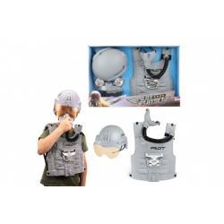 Pilot stíhačky sada plast s vestou a helmou v krabici 51x34x8cm