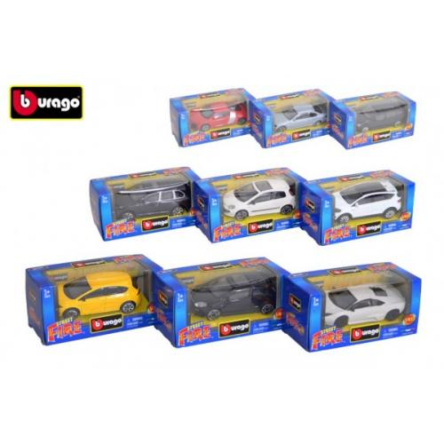 Auto Bburago Street Fire kov/plast 1:43 mix druhů v krabičce 13x6x5,5cm 24ks v boxu