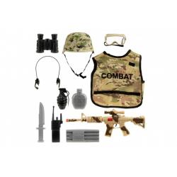 Vojenská sada látka/plast vesta, helma, samopal na setrvačník 48cm + doplňky v sáčku