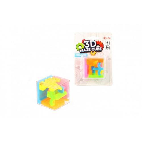 Bludiště/hlavolam 3D kostka 4,5x4,5cm na kartě