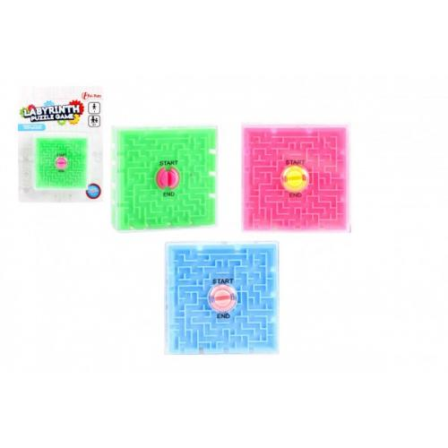 Bludiště/Labyrint hlavolam plast 7x7cm 3 barvy na kartě