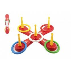 Házecí hra plast kříž s kruhy v síťce 46x12x8cm