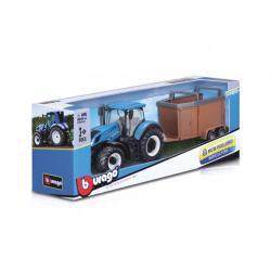 Traktor Bburago New Holland s vlekem kov/plast 4 druhy v krabici 32x11x7,5cm