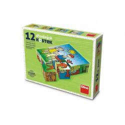 Kostky kubus Pejsek a kočička dřevo 12ks v krabičce 16x12x4cm
