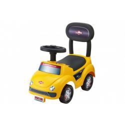 Odrážedlo auto plast žluté výška sedadla 20cm v krabici 48x23,5x22,5cm 12-35m
