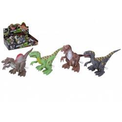 Dinosaurus se světelnými efekty 14cm plast na klíček mix barev na baterie 12ks v boxu