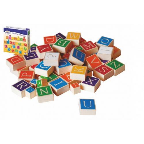 Dřevěná abeceda v krabici 23x23x5cm