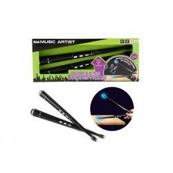 Paličky pro bicí bezdrátové plast 34cm na baterie se zvukem se zvukem v krabici 37x15x5cm