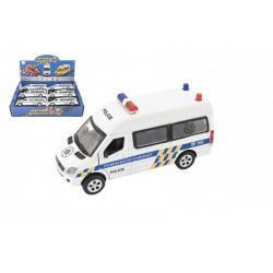 Auto policie kov/plast 15cm na baterie se světlem se zvukem na zpětné natažení 6 ks v boxu