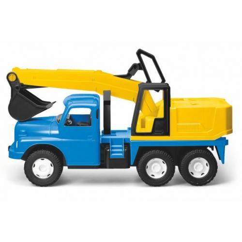 Auto Tatra 148 plast 72cm  Bagr UDS na písek v krabici - modrožlutý