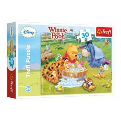 Puzzle Medvídek Pú  Prasátko se koupe 27x20cm 30 dílků v krabici 21x14x4cm