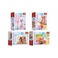 Minipuzzle 54 dílků Domácí zvířata 4 druhy v krabičce 9x6,5x4cm 40ks v boxu