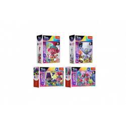 Minipuzzle miniMaxi 20 dílků V hudebním světě Trollů 4 druhy v krabičce 11x8x4cm 24ks v boxu