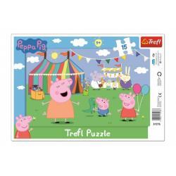 Puzzle deskové V zábavním parku Prasátko Peppa/Peppa Pig 15dílků 33x23cm