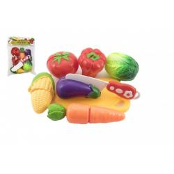 Zelenina krájecí plast s prkénkem 13,5x8cm s nožem v sáčku 18x26x5cm
