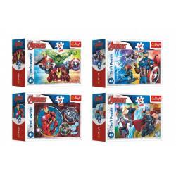 Minipuzzle 54 dílků Avengers/Hrdinové 4 druhy v krabičce 9x6,5x4cm 40ks v boxu
