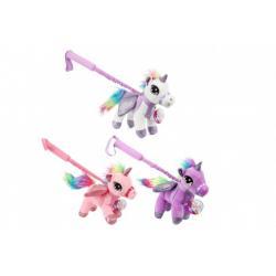 Jednorožec/Kůň s nastavitelnou tyčkou plyš 20x20cm 3 barvy 18m+