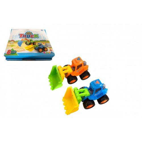 Auto stavební/bagr 14cm plast na setrvačník 2 barvy 8ks v boxu