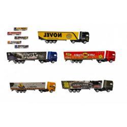 Auto kamion s návěsem kov/plast 20cm na volný chod mix druhů v plast. krabičce 20x5x3cm 24ks v boxu