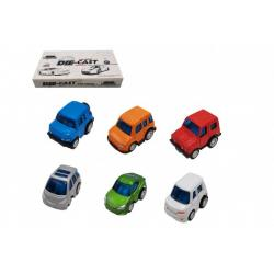 Auto mini kov/plast 5cm na zpětné natažení mix druhů 12ks v boxu