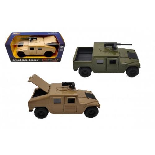 Auto vojenské kov/plast 12cm na zpětné natažení 2 barvy v krabičce 16,5x7x7cm