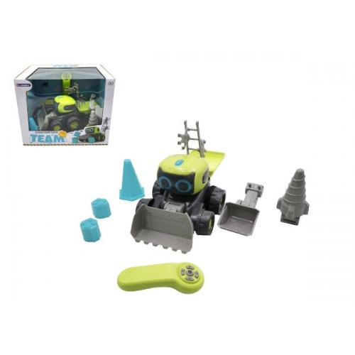 Auto/Stavební stroj RC plast 15x20cm na baterie s doplňky v krabici 32x25,5x23,5cm
