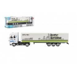 Kamion s návěsem 19cm kov/plast na volný chod 4 barvy v krabičce 20x6x4cm 24ks v boxu