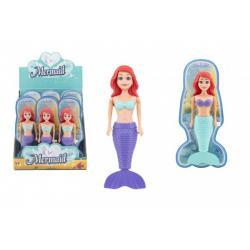 Mořská panna do vody na natažení na klíček plast 18cm na kartě 12ks v boxu