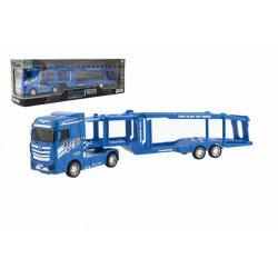 Auto kamion přepravník plast 35cm na setrvačník na baterie se světlem se zvukem v krabici 40x13x9cm